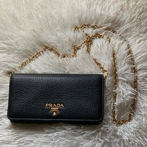 Prada Leather Wallet with Chain